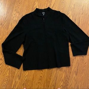 Eileen Fisher Black Ribbed Zip Front Jacket Size L
